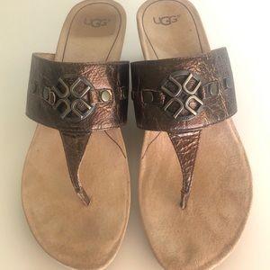 UGG Brielle Bronze Leather Sandals